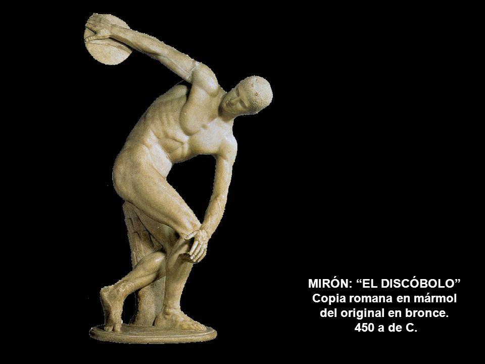 MIRÓN: EL DISCÓBOLO Copia romana en mármol del original en bronce