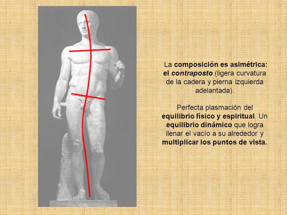 La composición es asimétrica: el contraposto (ligera curvatura de la cadera y pierna izquierda adelantada).