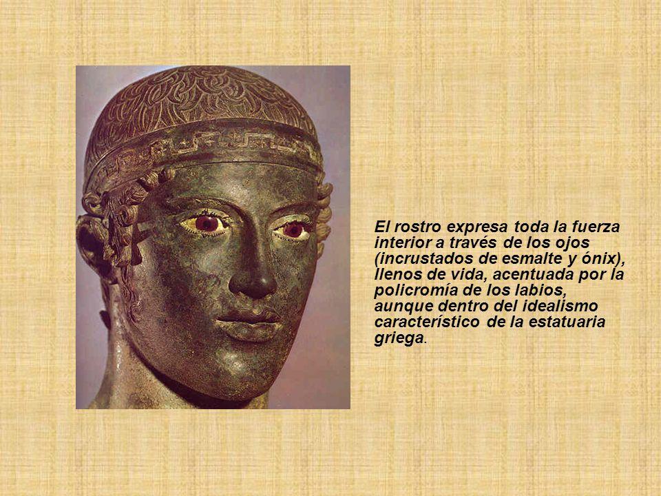 El rostro expresa toda la fuerza interior a través de los ojos (incrustados de esmalte y ónix), llenos de vida, acentuada por la policromía de los labios, aunque dentro del idealismo característico de la estatuaria griega.