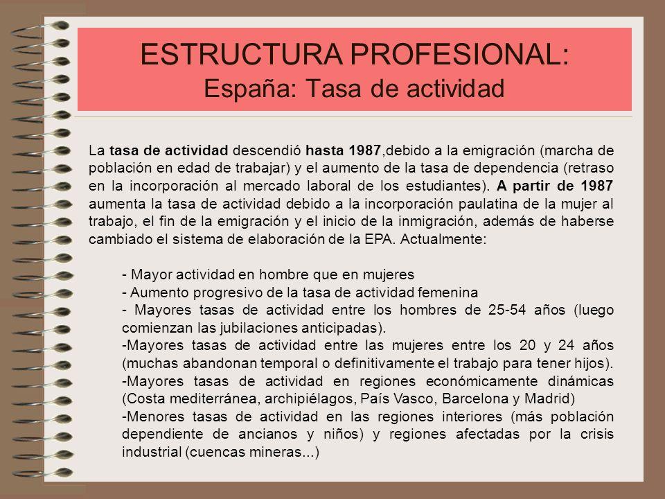 ESTRUCTURA PROFESIONAL: España: Tasa de actividad