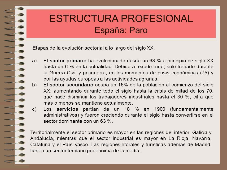 ESTRUCTURA PROFESIONAL España: Paro