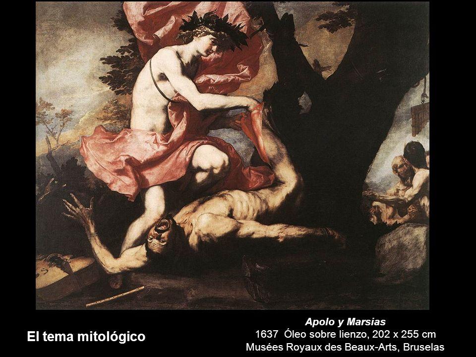 El tema mitológico Apolo y Marsias 1637 Óleo sobre lienzo, 202 x 255 cm Musées Royaux des Beaux-Arts, Bruselas.