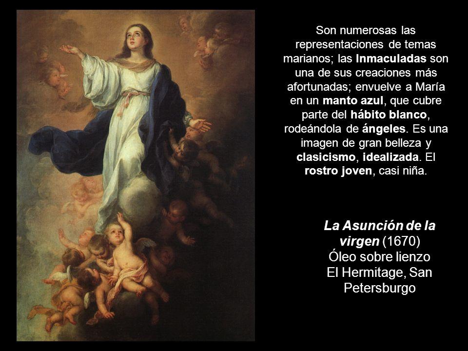 Son numerosas las representaciones de temas marianos; las Inmaculadas son una de sus creaciones más afortunadas; envuelve a María en un manto azul, que cubre parte del hábito blanco, rodeándola de ángeles. Es una imagen de gran belleza y clasicismo, idealizada. El rostro joven, casi niña.