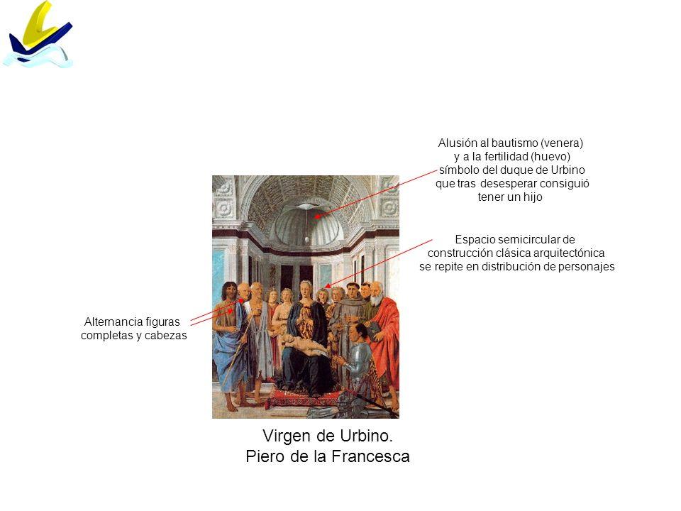 Virgen de Urbino. Piero de la Francesca Alusión al bautismo (venera)