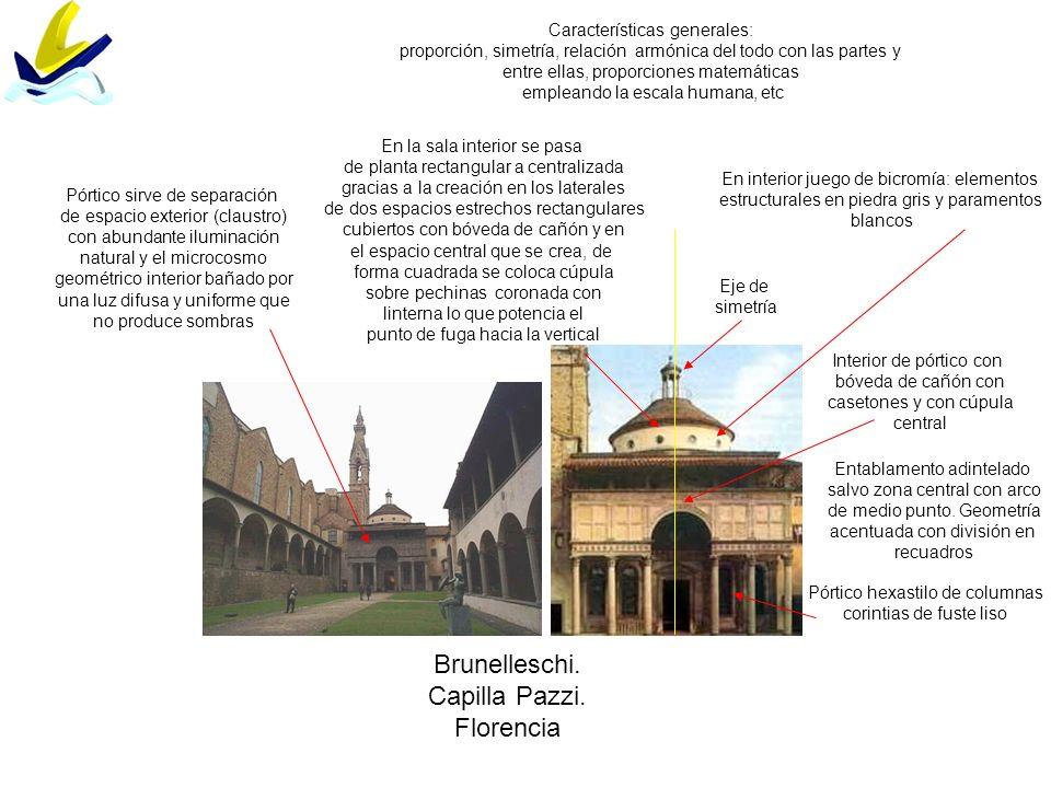 Brunelleschi. Capilla Pazzi. Florencia Características generales: