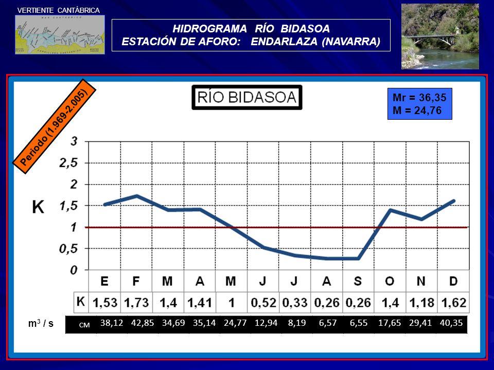 HIDROGRAMA RÍO BIDASOA ESTACIÓN DE AFORO: ENDARLAZA (NAVARRA)