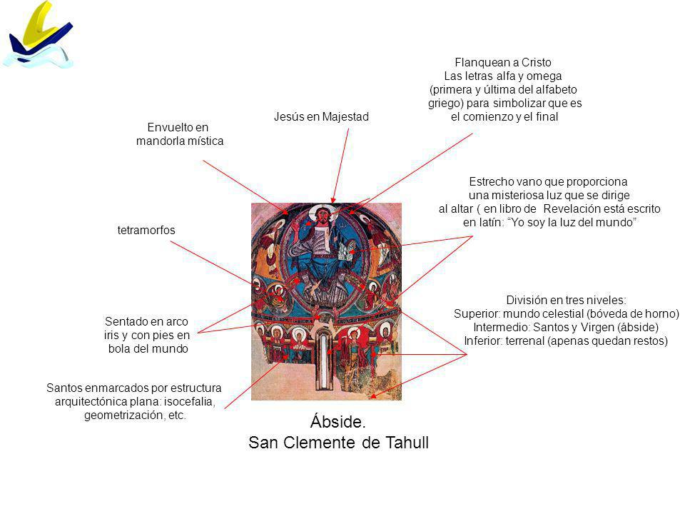 Ábside. San Clemente de Tahull Flanquean a Cristo