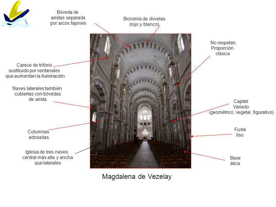 Magdalena de Vezelay Bóveda de aristas separada por arcos fajones