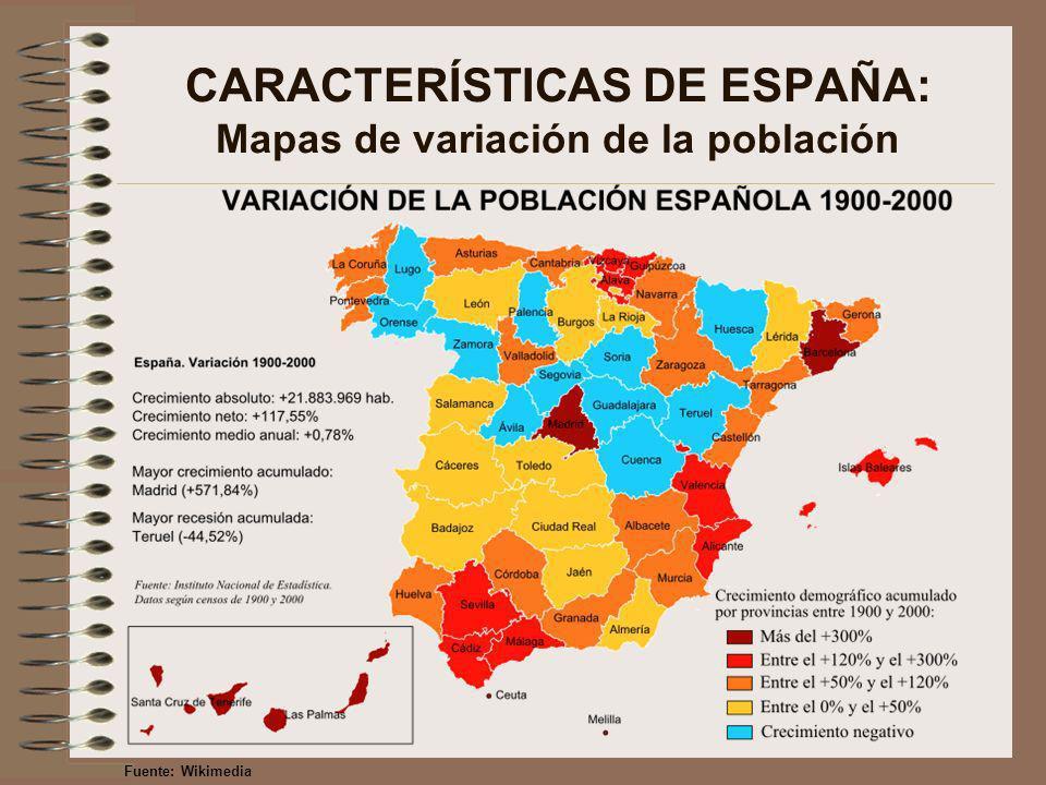 CARACTERÍSTICAS DE ESPAÑA: Mapas de variación de la población