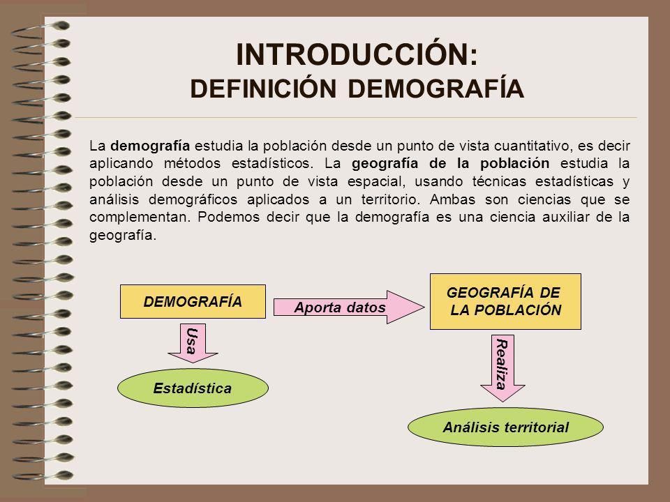 INTRODUCCIÓN: DEFINICIÓN DEMOGRAFÍA