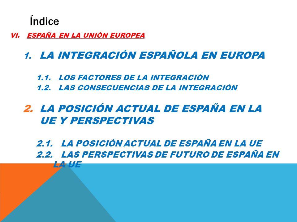Índice LA POSICIÓN ACTUAL DE ESPAÑA EN LA UE Y PERSPECTIVAS
