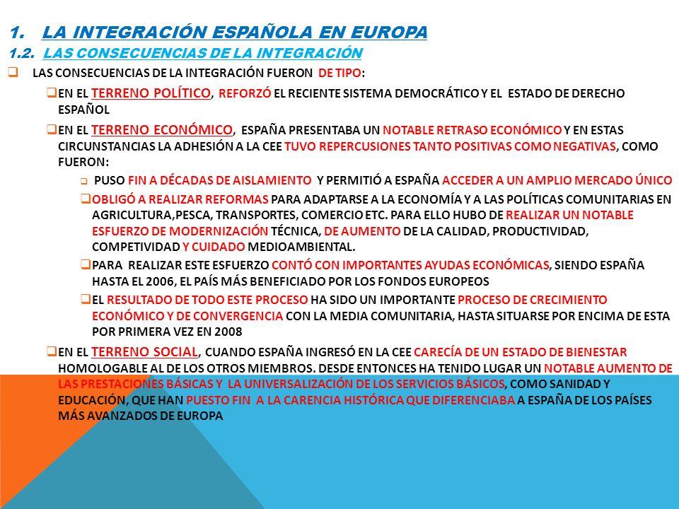 1. LA INTEGRACIÓN ESPAÑOLA EN EUROPA