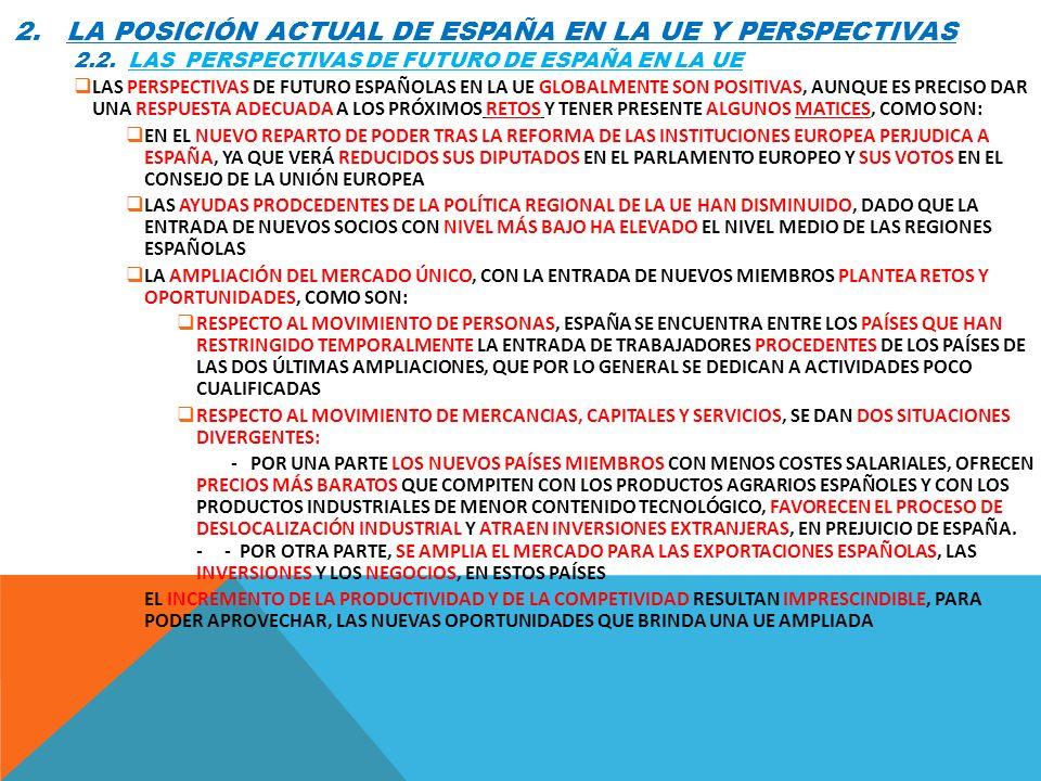 2. LA POSICIÓN ACTUAL DE ESPAÑA EN LA UE Y PERSPECTIVAS