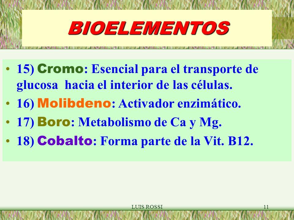 BIOELEMENTOS 15) Cromo: Esencial para el transporte de glucosa hacia el interior de las células. 16) Molibdeno: Activador enzimático.