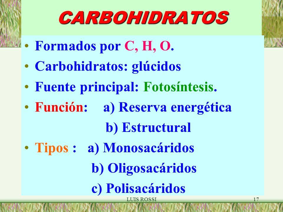 CARBOHIDRATOS Formados por C, H, O. Carbohidratos: glúcidos