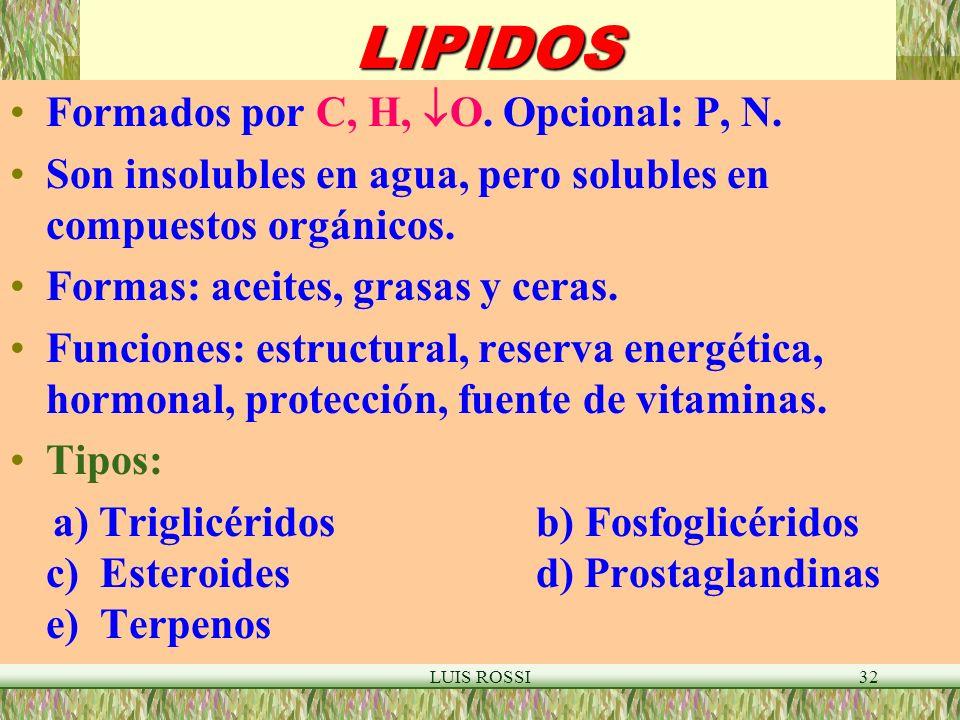 LIPIDOS Formados por C, H, O. Opcional: P, N.