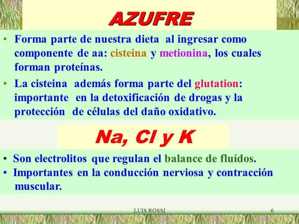 AZUFRE Forma parte de nuestra dieta al ingresar como componente de aa: cisteina y metionina, los cuales forman proteínas.