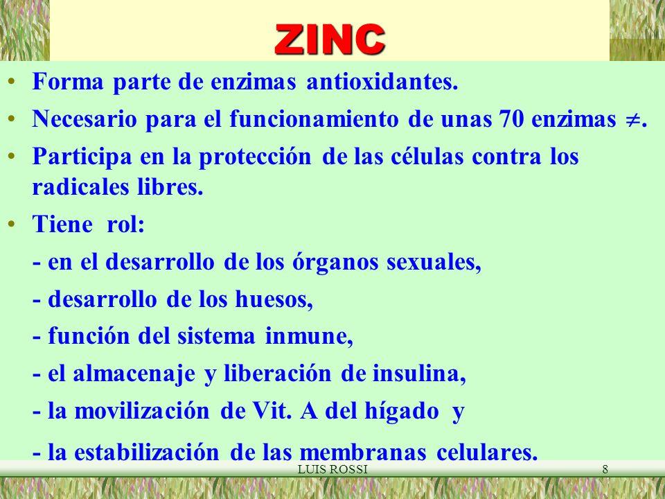 ZINC Forma parte de enzimas antioxidantes.