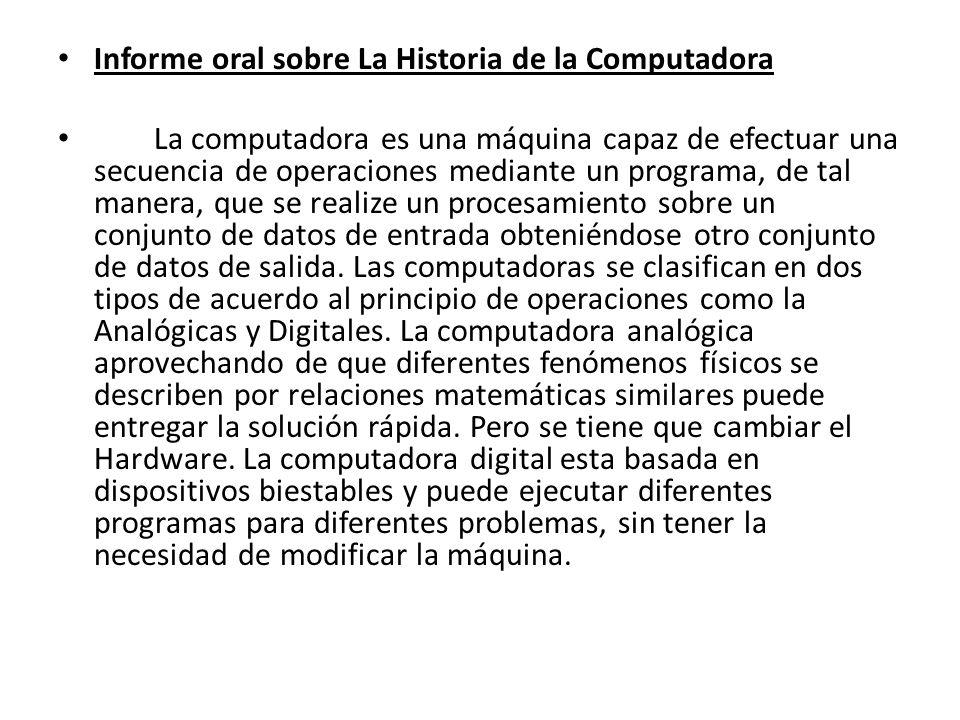 Informe oral sobre La Historia de la Computadora
