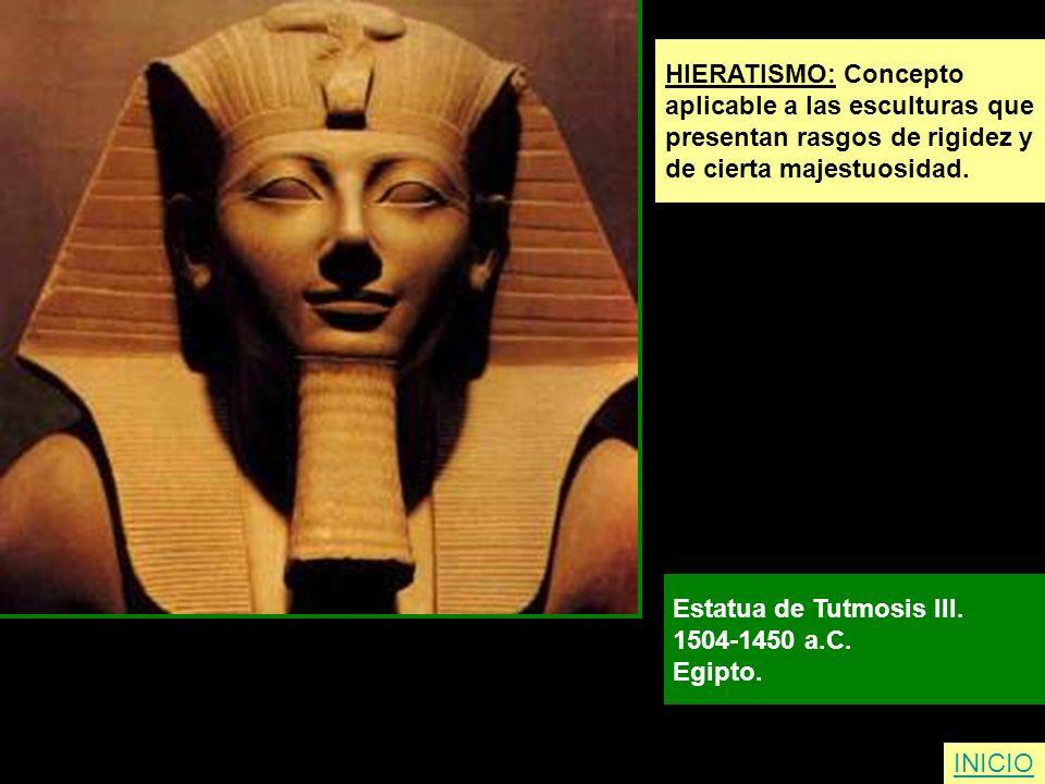 HIERATISMO: Concepto aplicable a las esculturas que. presentan rasgos de rigidez y. de cierta majestuosidad.