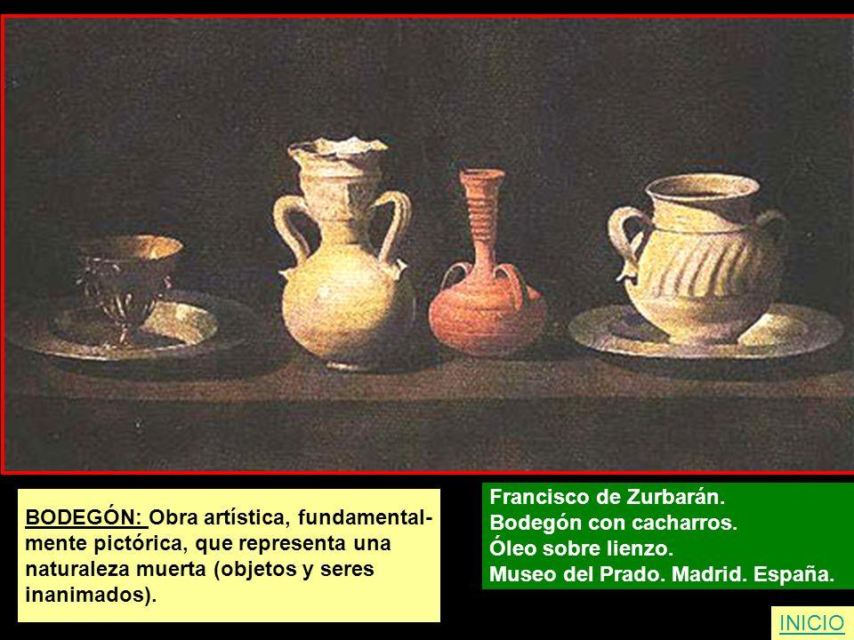 Francisco de Zurbarán. Bodegón con cacharros. Óleo sobre lienzo. Museo del Prado. Madrid. España.