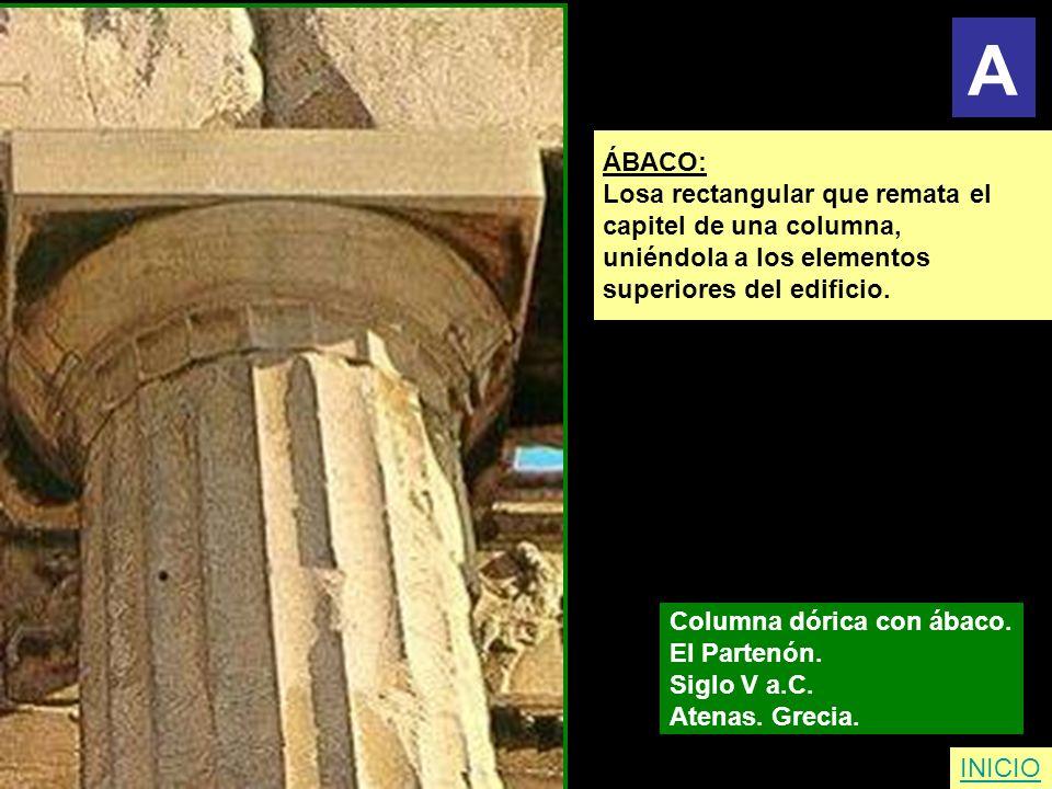 A ÁBACO: Losa rectangular que remata el capitel de una columna,