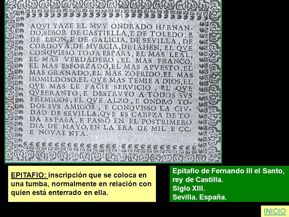 EPITAFIO: inscripción que se coloca en