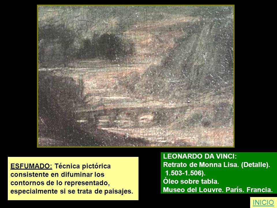 LEONARDO DA VINCI: Retrato de Monna Lisa. (Detalle). 1.503-1.506). Óleo sobre tabla. Museo del Louvre. París. Francia.