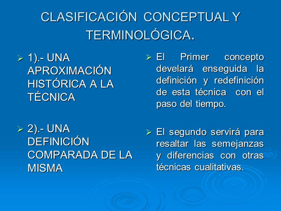 CLASIFICACIÓN CONCEPTUAL Y TERMINOLÓGICA.