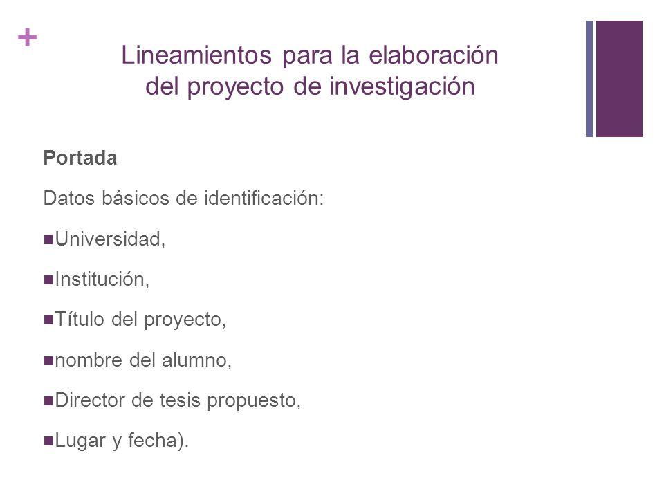 Lineamientos para la elaboración del proyecto de investigación