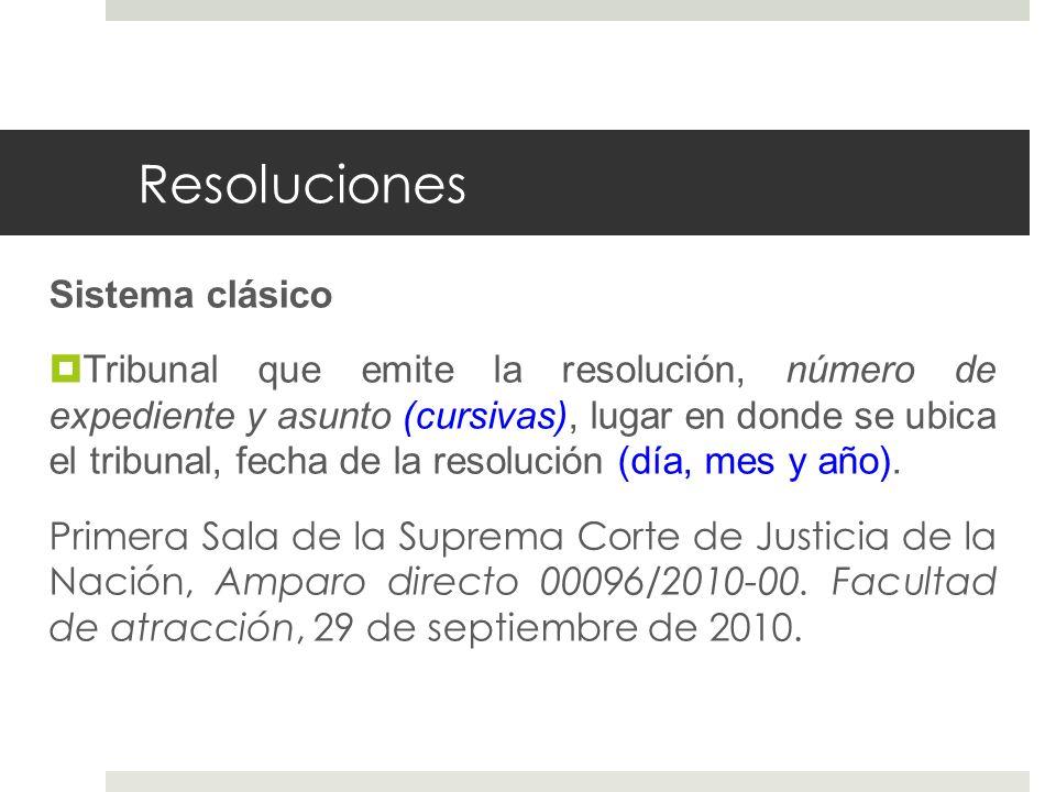 Resoluciones Sistema clásico