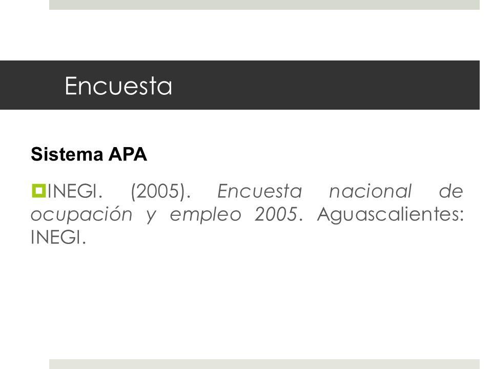 Encuesta Sistema APA. INEGI. (2005). Encuesta nacional de ocupación y empleo 2005.