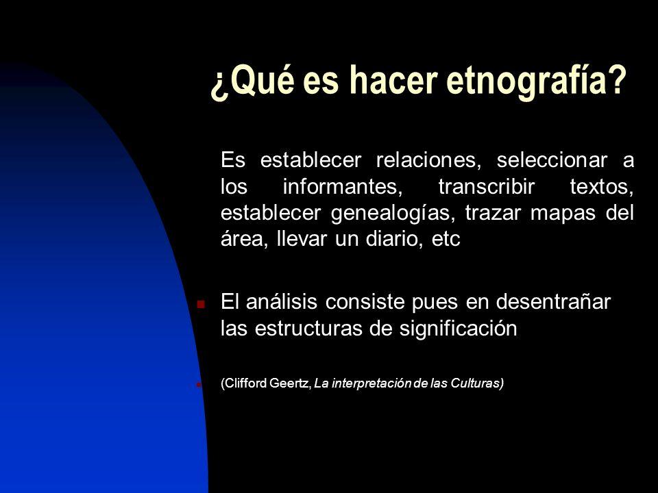 ¿Qué es hacer etnografía