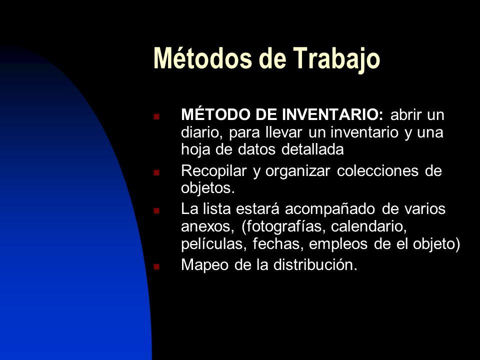 Métodos de Trabajo MÉTODO DE INVENTARIO: abrir un diario, para llevar un inventario y una hoja de datos detallada.