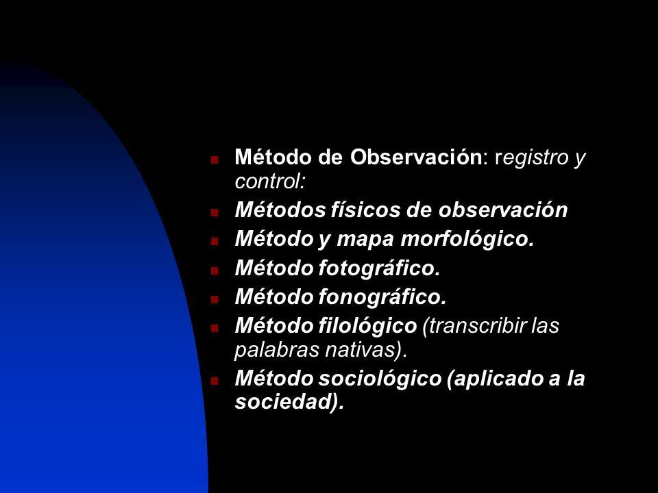 Método de Observación: registro y control: