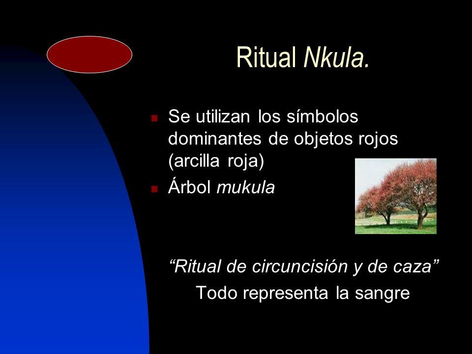 Ritual Nkula. Se utilizan los símbolos dominantes de objetos rojos (arcilla roja) Árbol mukula. Ritual de circuncisión y de caza