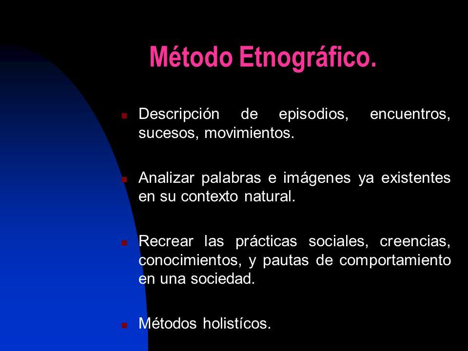 Método Etnográfico. Descripción de episodios, encuentros, sucesos, movimientos. Analizar palabras e imágenes ya existentes en su contexto natural.