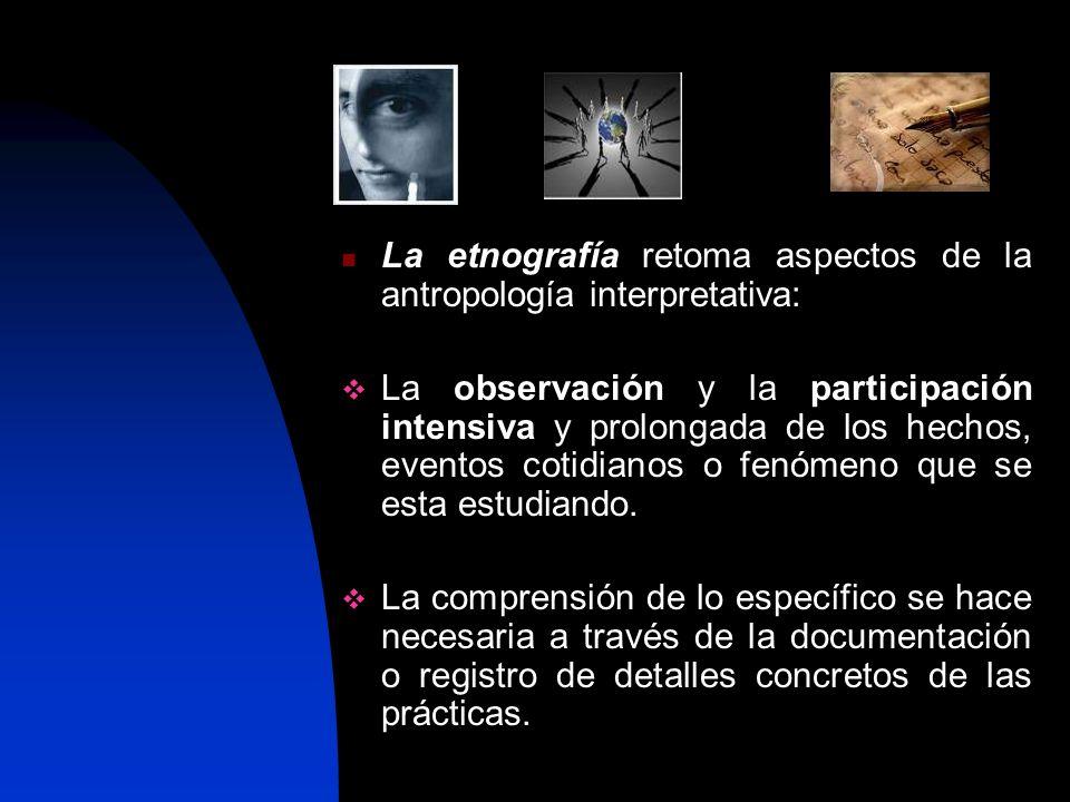 La etnografía retoma aspectos de la antropología interpretativa: