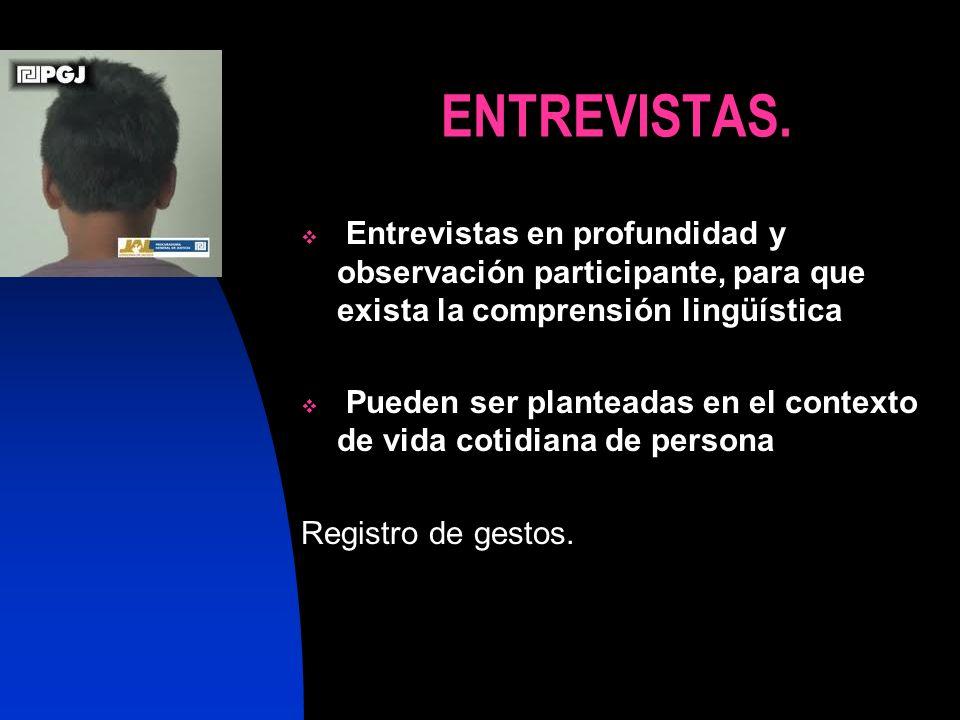 ENTREVISTAS. Entrevistas en profundidad y observación participante, para que exista la comprensión lingüística.