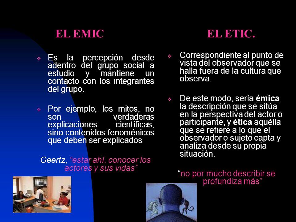EL EMIC EL ETIC. Correspondiente al punto de vista del observador que se halla fuera de la cultura que observa.