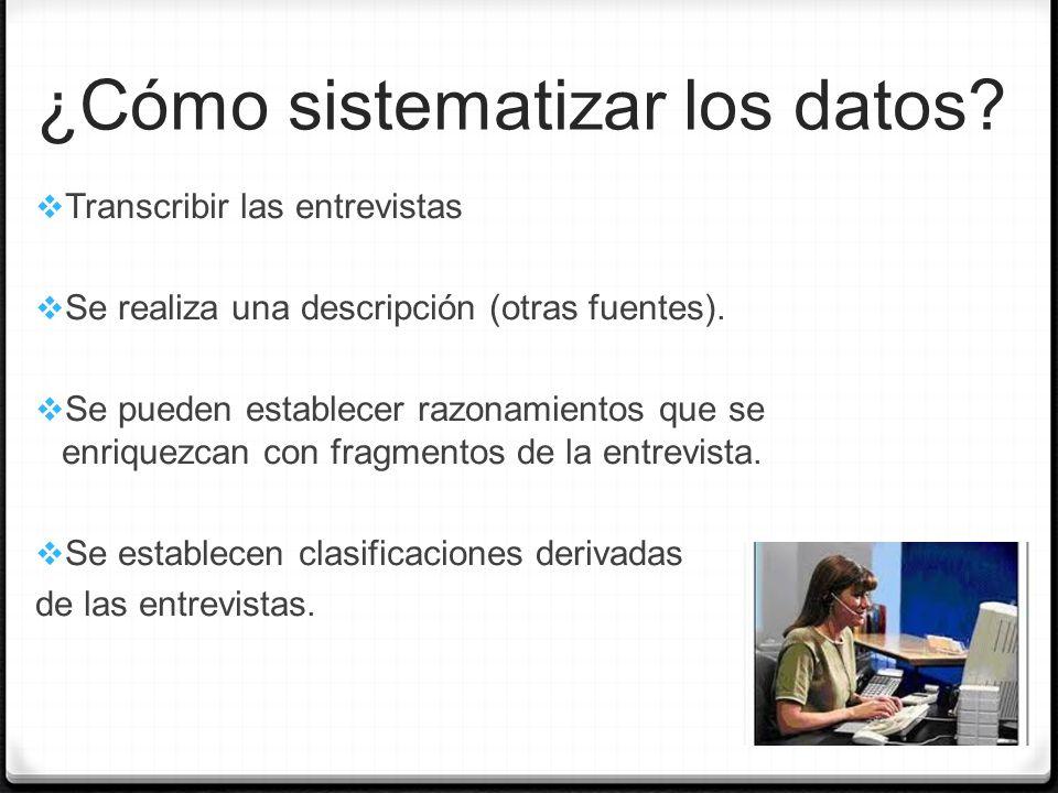 ¿Cómo sistematizar los datos