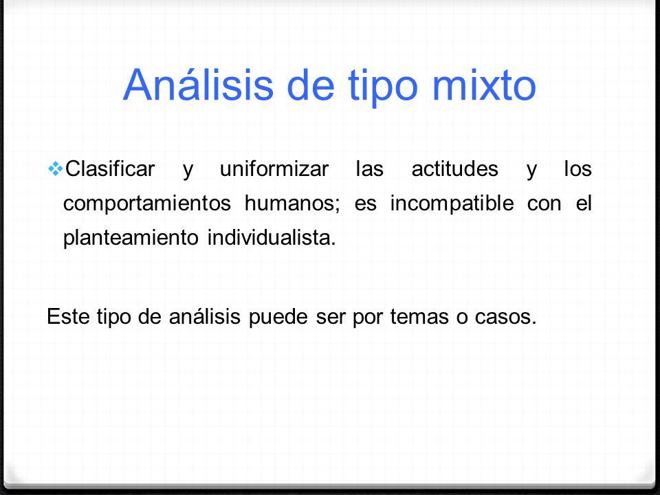 Análisis de tipo mixtoClasificar y uniformizar las actitudes y los comportamientos humanos; es incompatible con el planteamiento individualista.