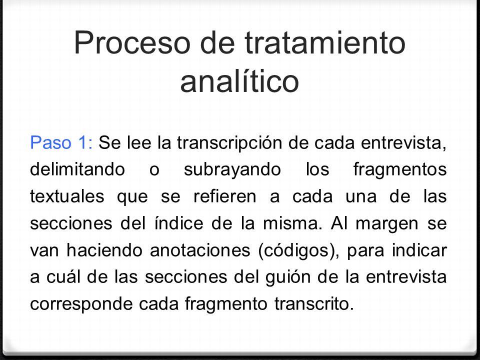 Proceso de tratamiento analítico