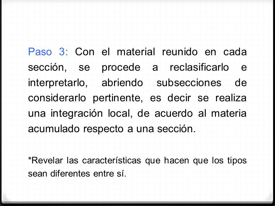 Paso 3: Con el material reunido en cada sección, se procede a reclasificarlo e interpretarlo, abriendo subsecciones de considerarlo pertinente, es decir se realiza una integración local, de acuerdo al materia acumulado respecto a una sección.