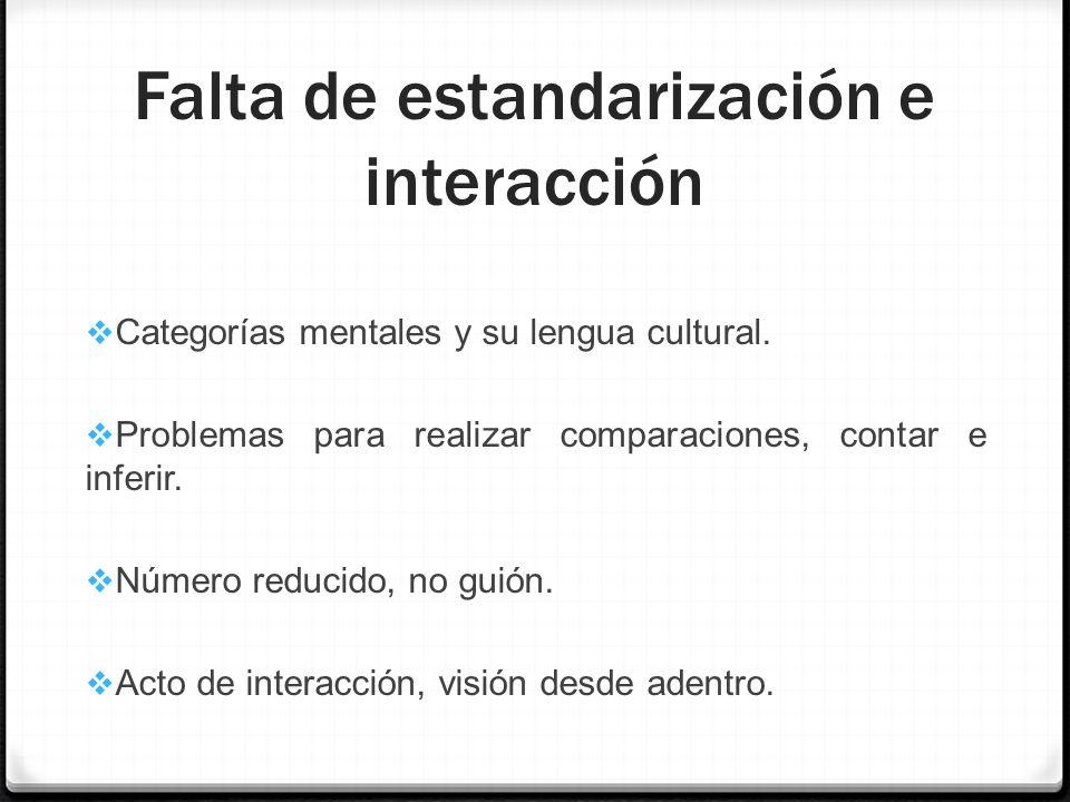 Falta de estandarización e interacción