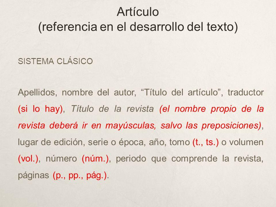 Artículo (referencia en el desarrollo del texto)