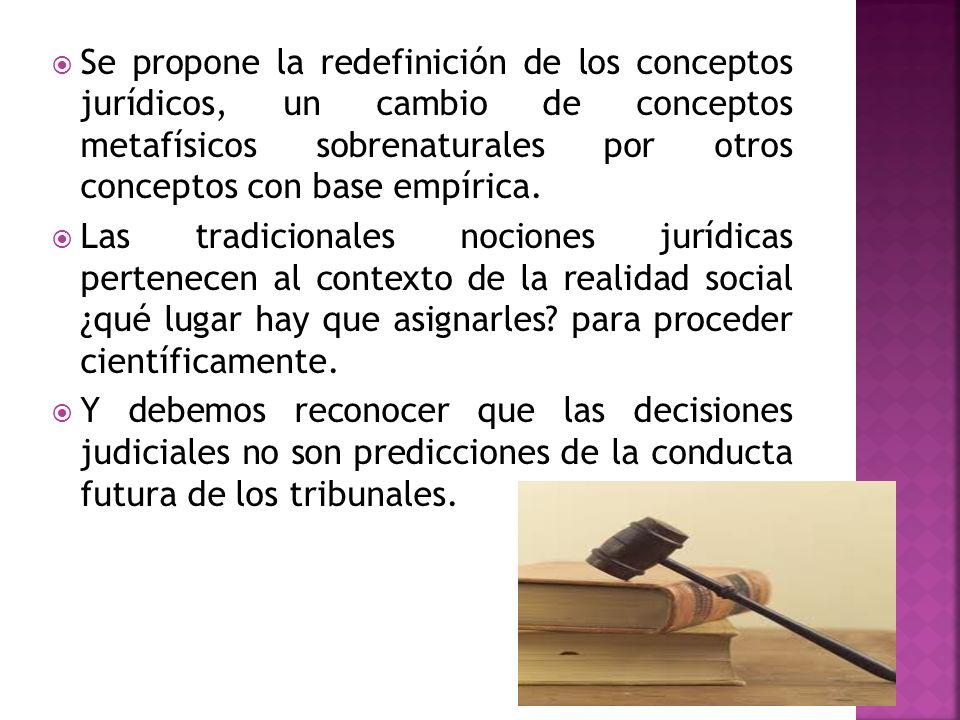 Se propone la redefinición de los conceptos jurídicos, un cambio de conceptos metafísicos sobrenaturales por otros conceptos con base empírica.