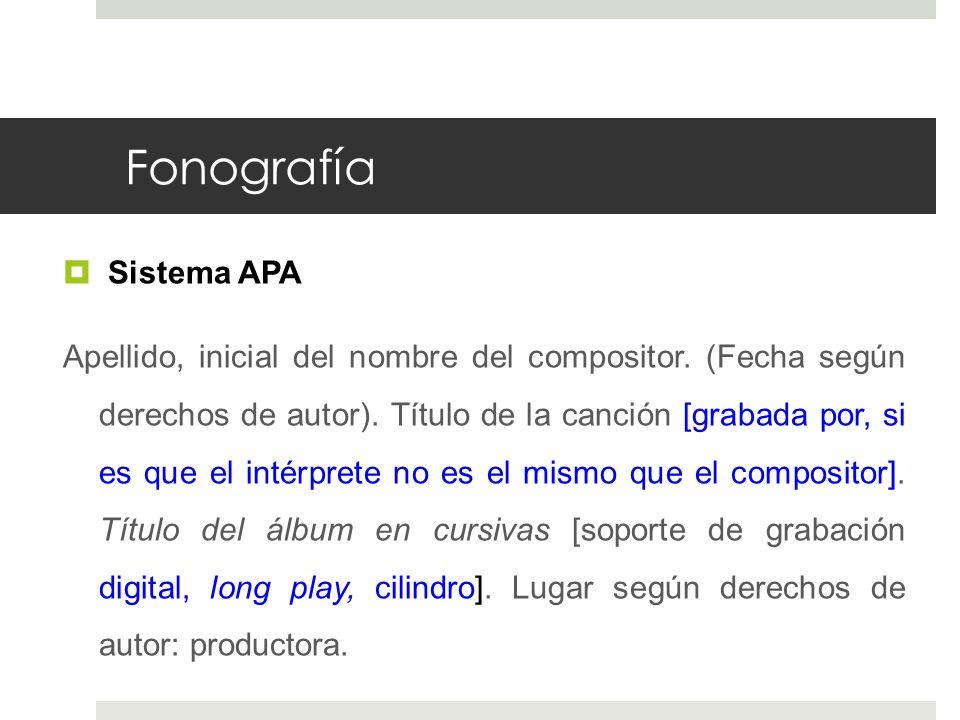 Fonografía Sistema APA
