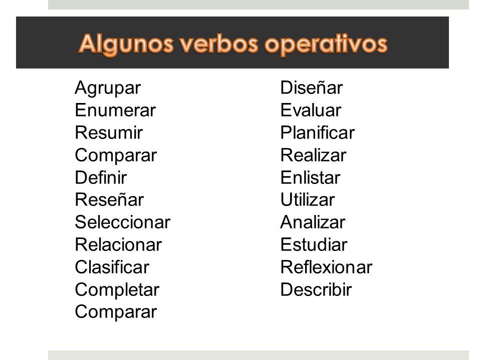 Algunos verbos operativos