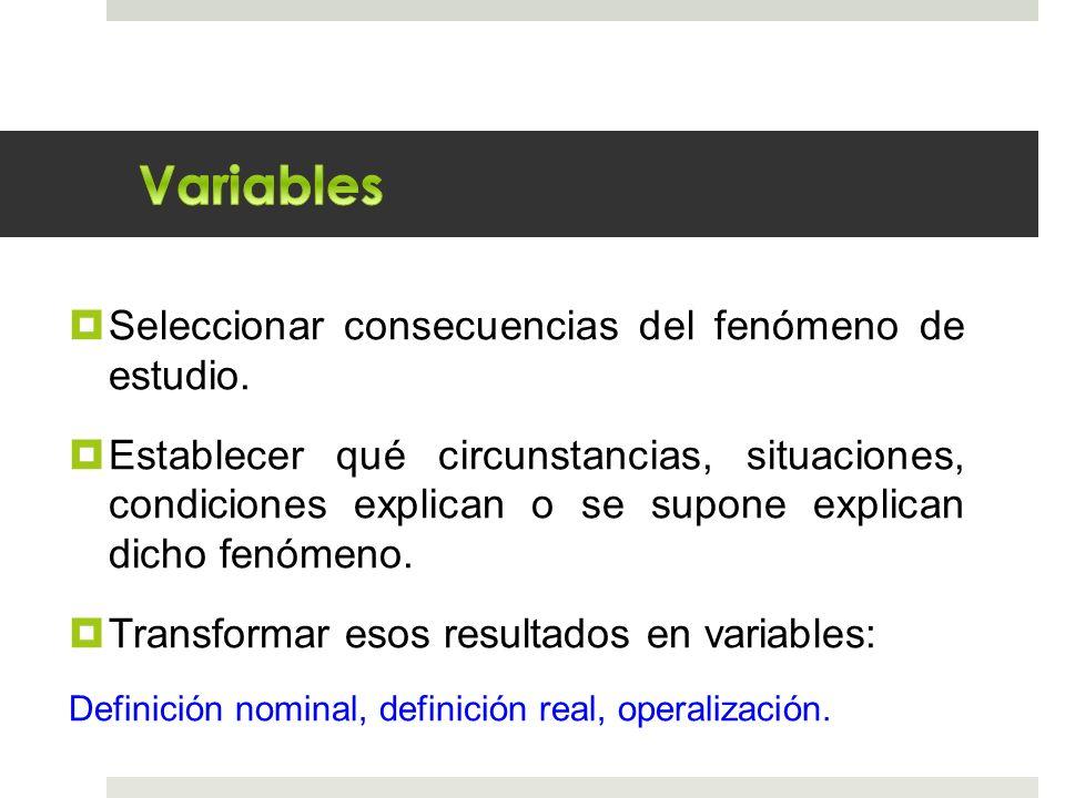 Variables Seleccionar consecuencias del fenómeno de estudio.